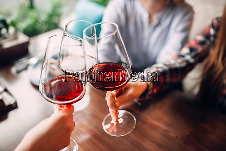 girlfriends, clink, glasses, with, red, wine - 28061582