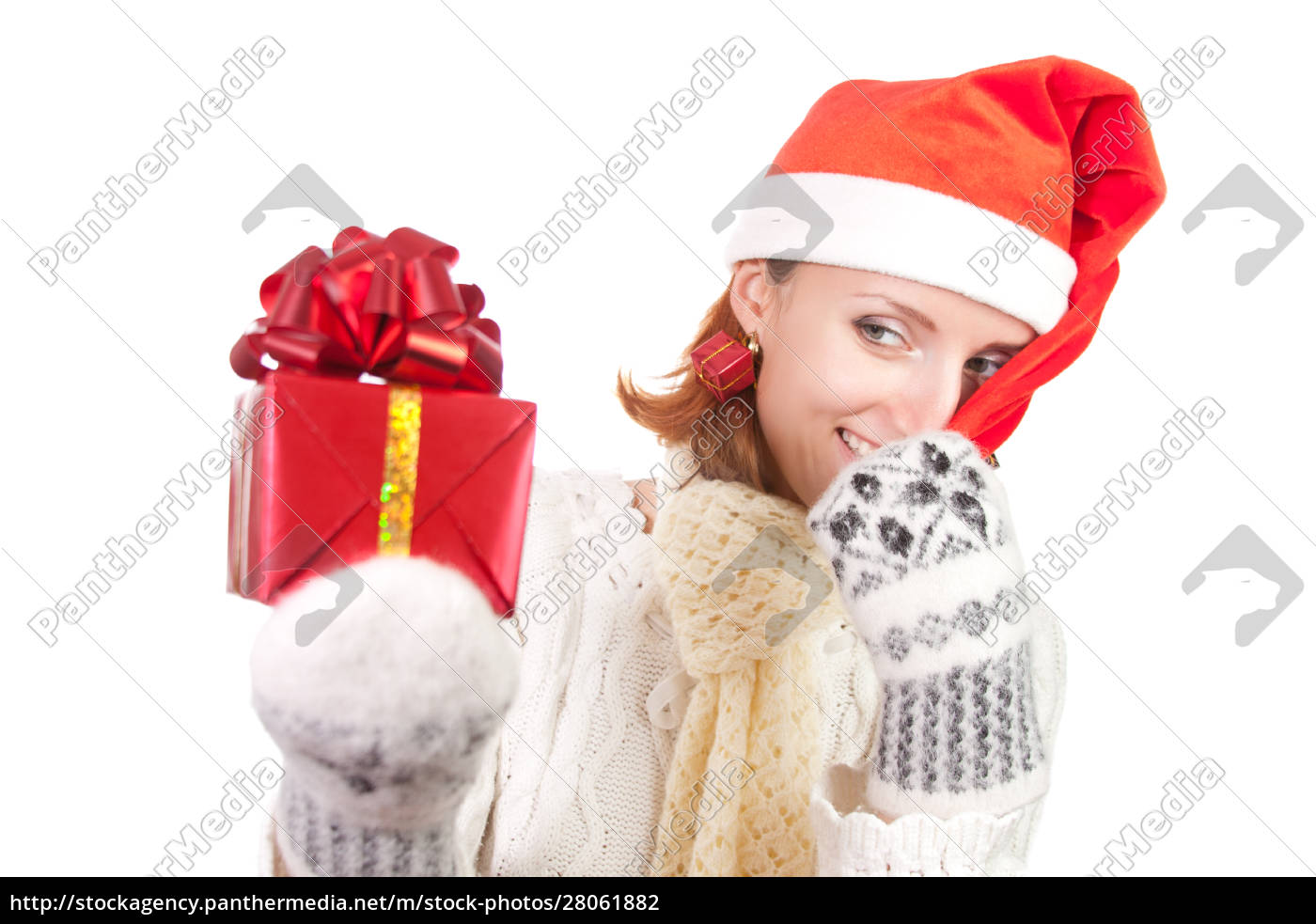 happy, smiling, woman, in, christmas, hat - 28061882