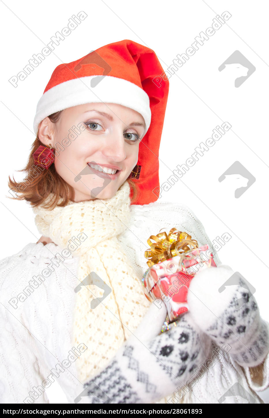 happy, woman, in, christmas, hat, with - 28061893