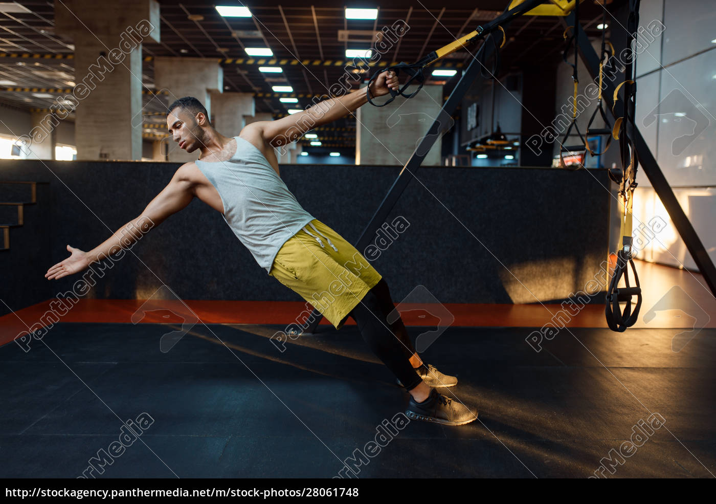 muscular, athlete, at, stretching, exercise, machine - 28061748