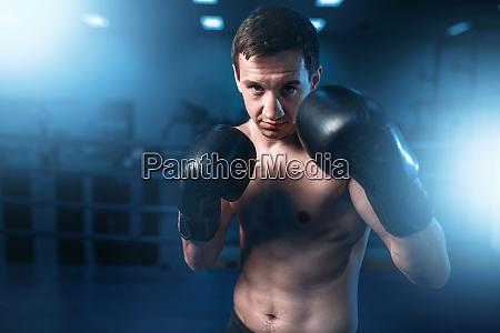 portrait, of, muscular, boxer, in, black - 28061499