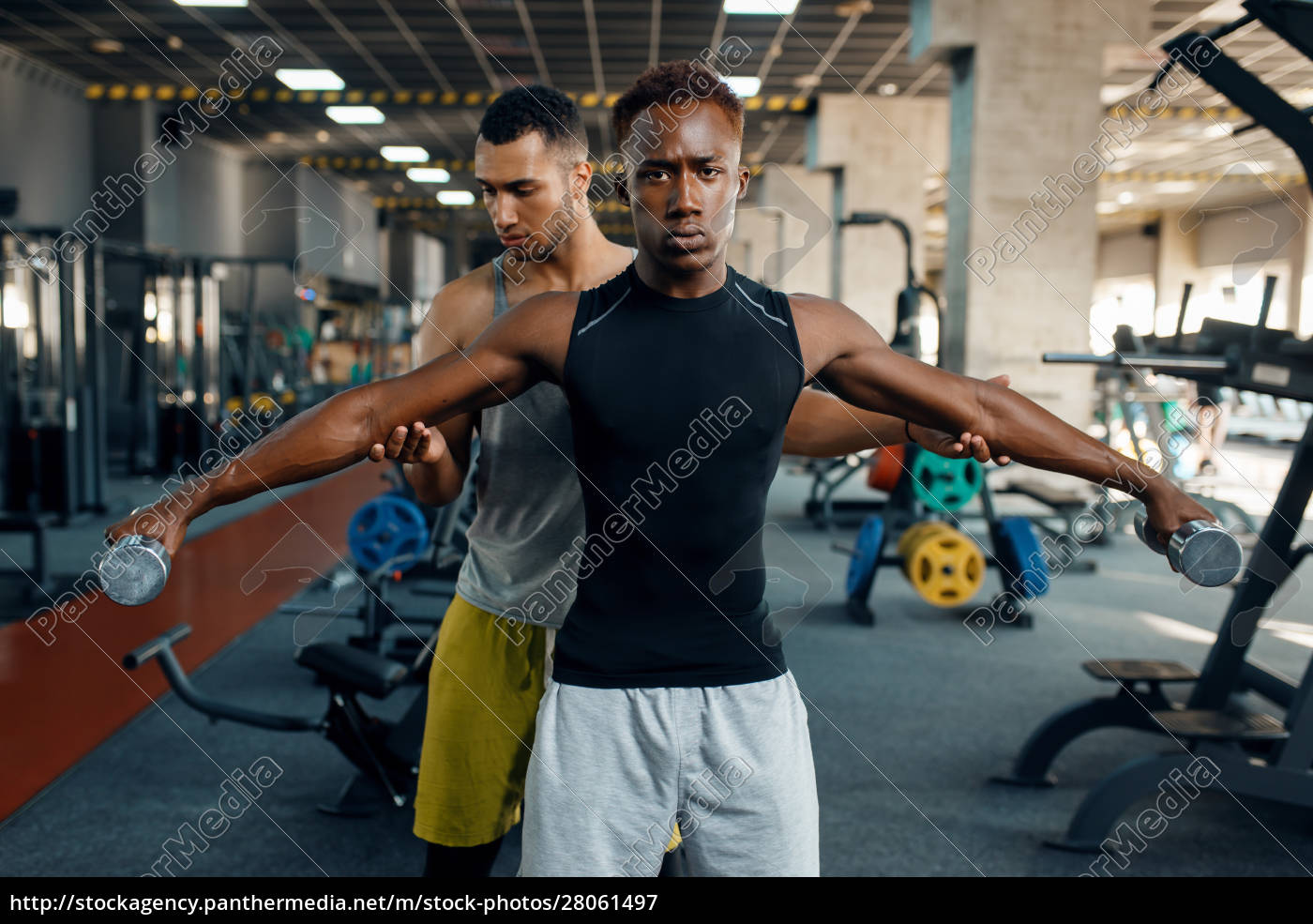 two, athletic, men, doing, exercise, with - 28061497