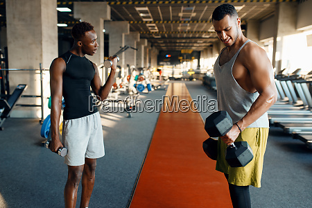 two, tired, athletes, doing, exercise, with - 28061639