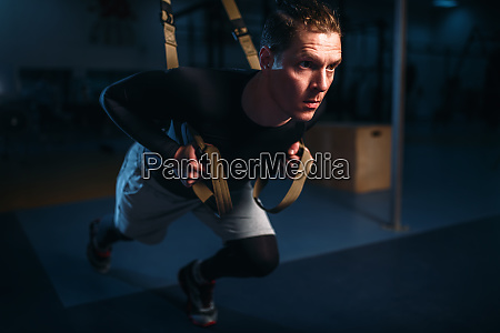 sportsman on training endurance workout with