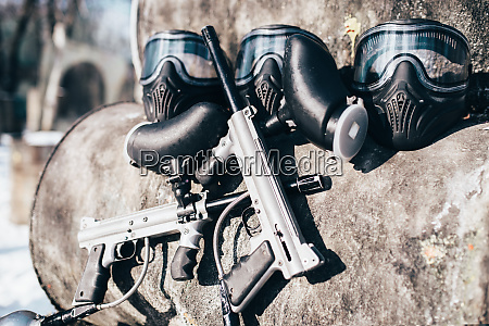 paintball masks with glasses and marker