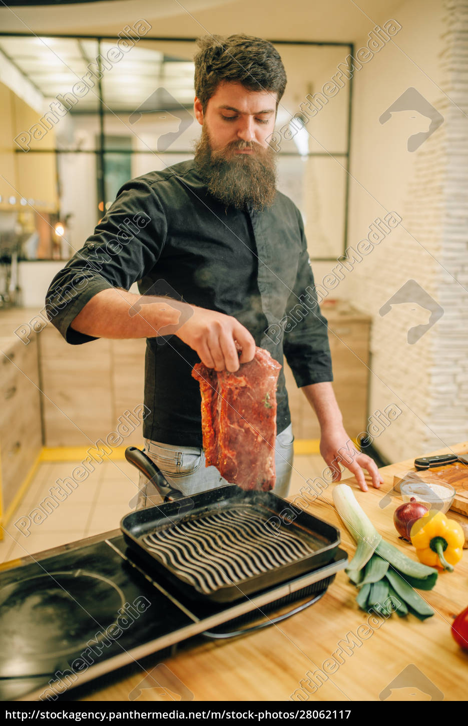 bearded, chef, cooking, meat, in, a - 28062117