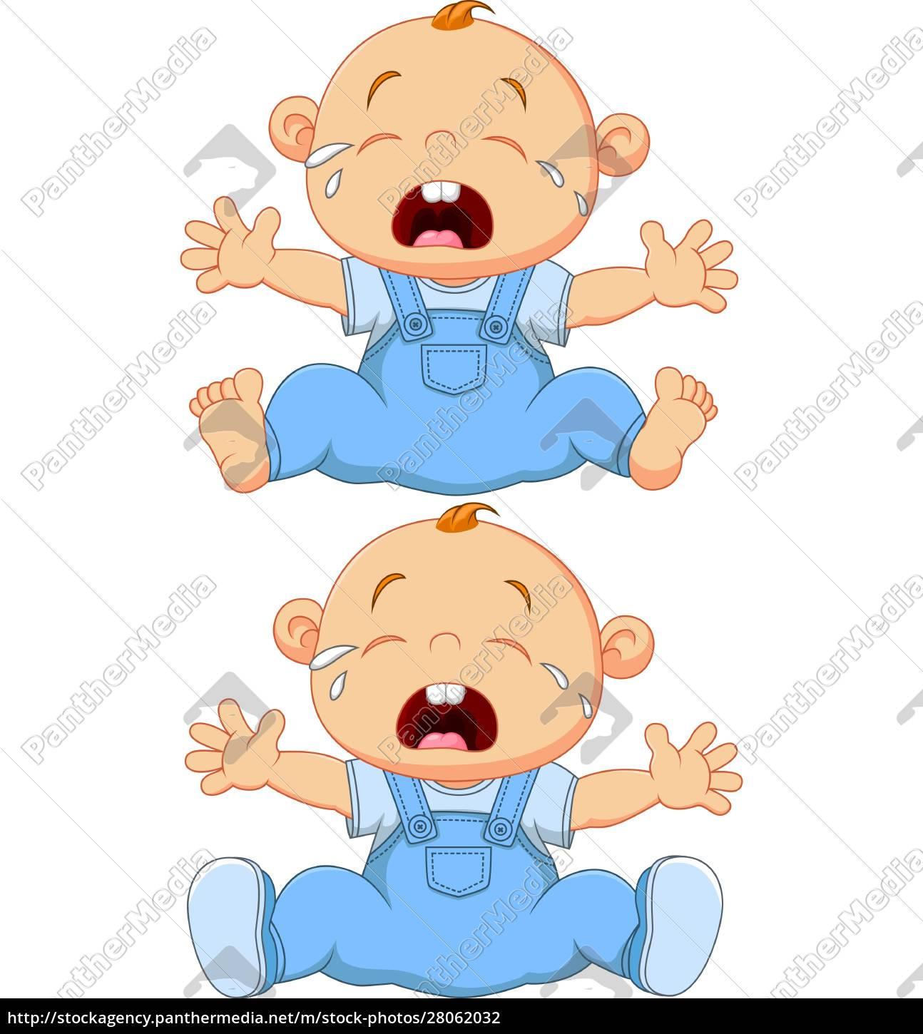 cartoon, crying, baby, twins, isolated, on - 28062032