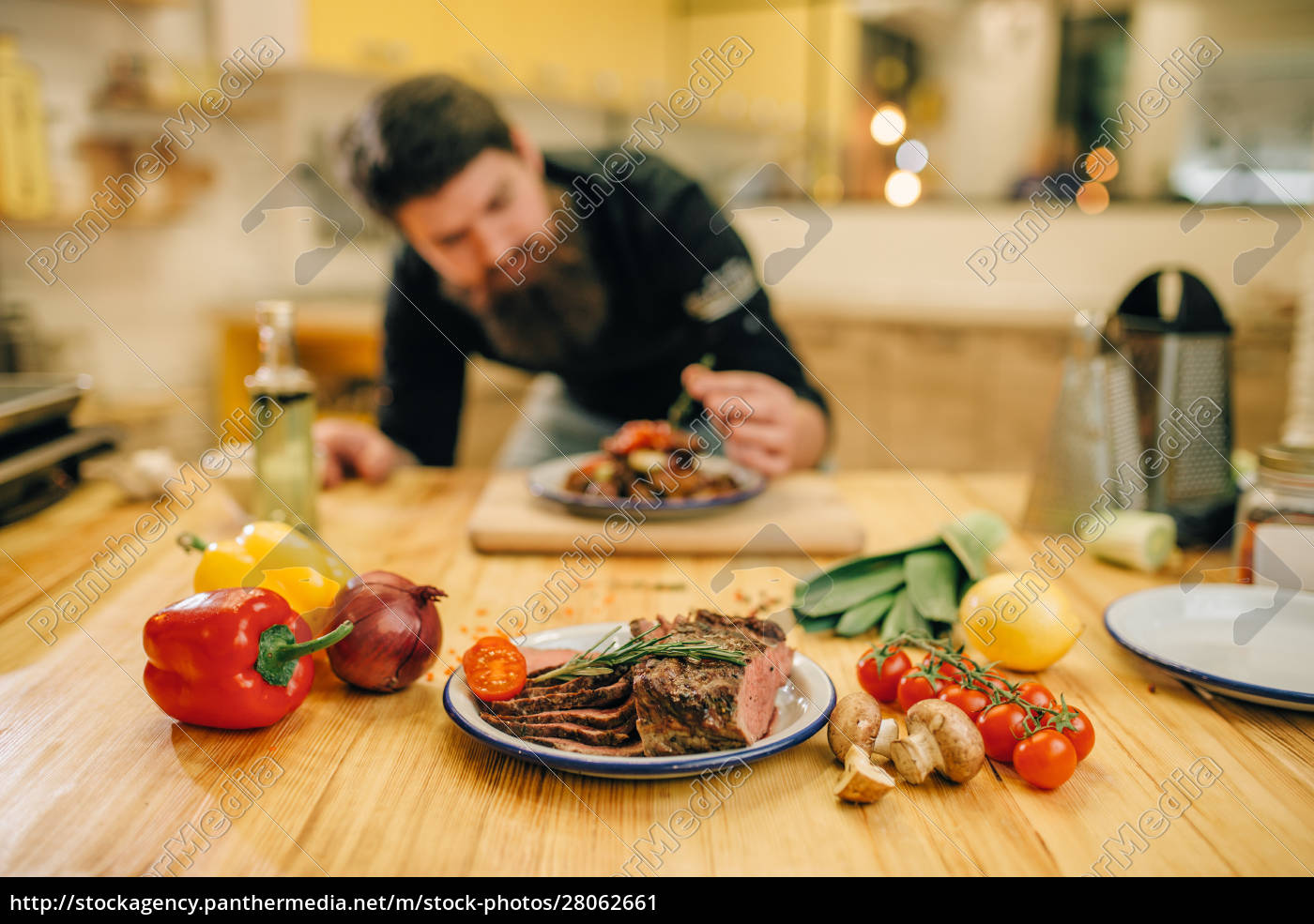 chef, decorates, with, herbs, a, meat - 28062661