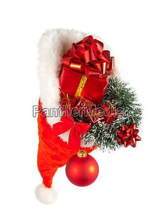 christmas, hat, full, of, red, ornaments - 28062786