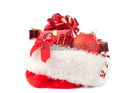 christmas, hat, full, of, red, ornaments - 28062978