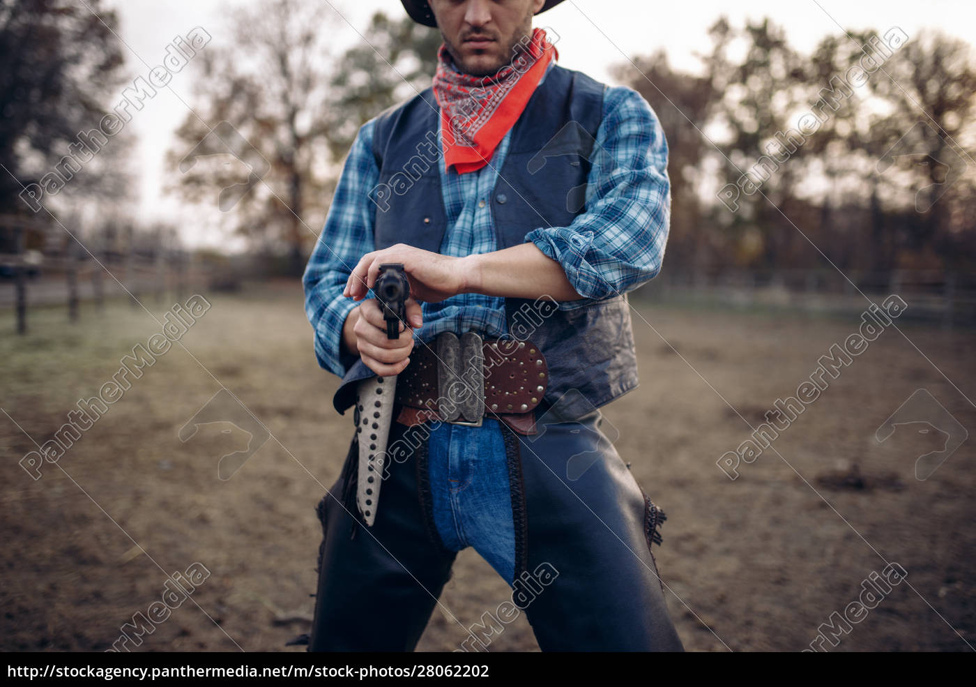 cowboy, with, revolver, , gunfight, on, ranch, - 28062202