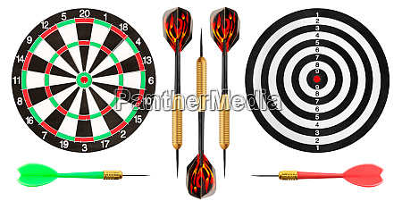 dart, board, and, darts, on, white - 28062691