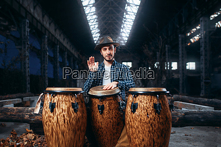 drummer, plays, on, african, drums, in - 28062658