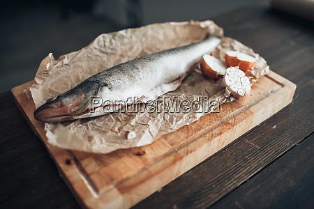 fresh, fish, preparation, on, cutting, board, - 28062589