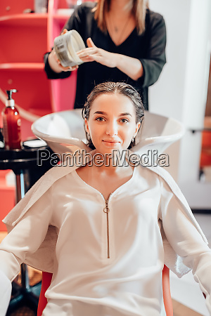 hairdresser, and, customer, , hair, coloring, process - 28062055