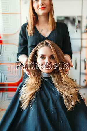 hairstylist, and, female, client, , hairdressing, salon - 28062485