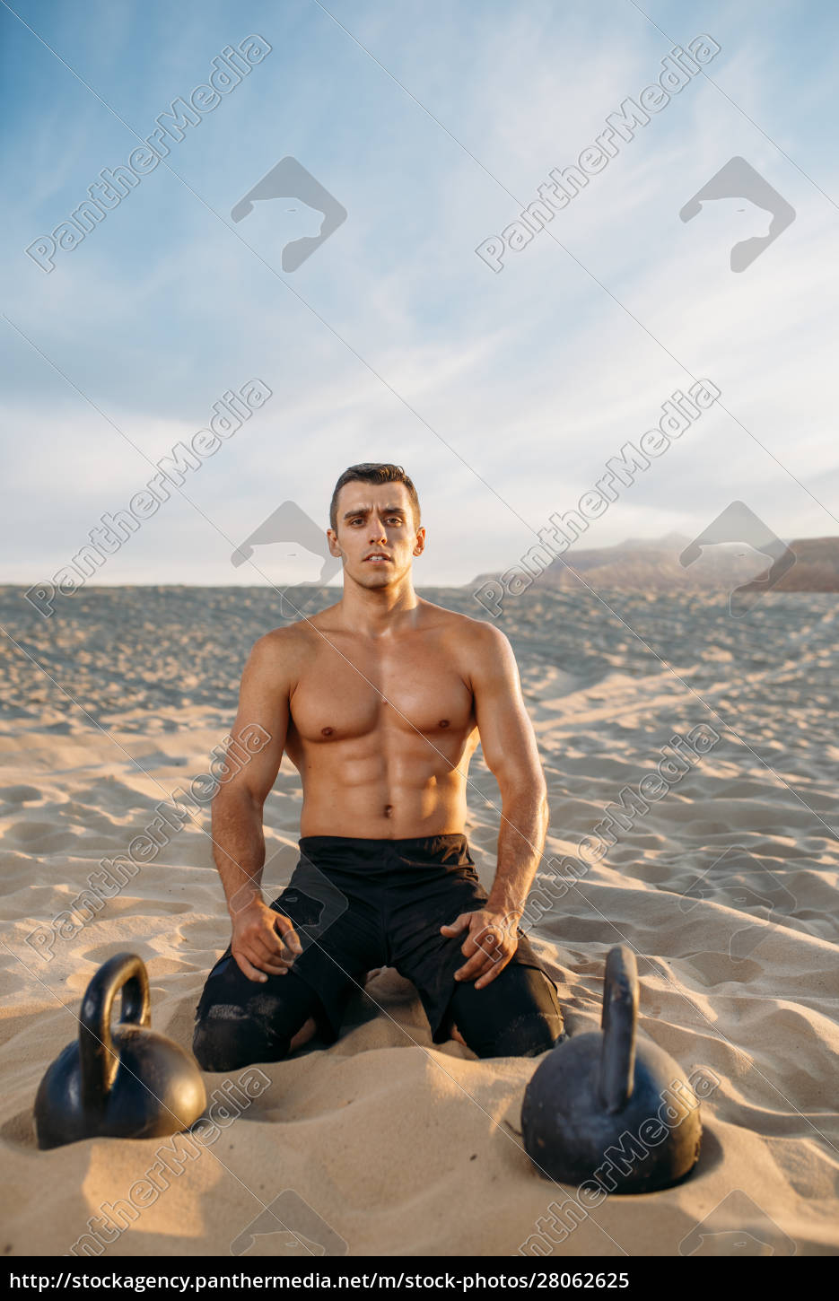 male, athlete, after, workout, in, desert - 28062625