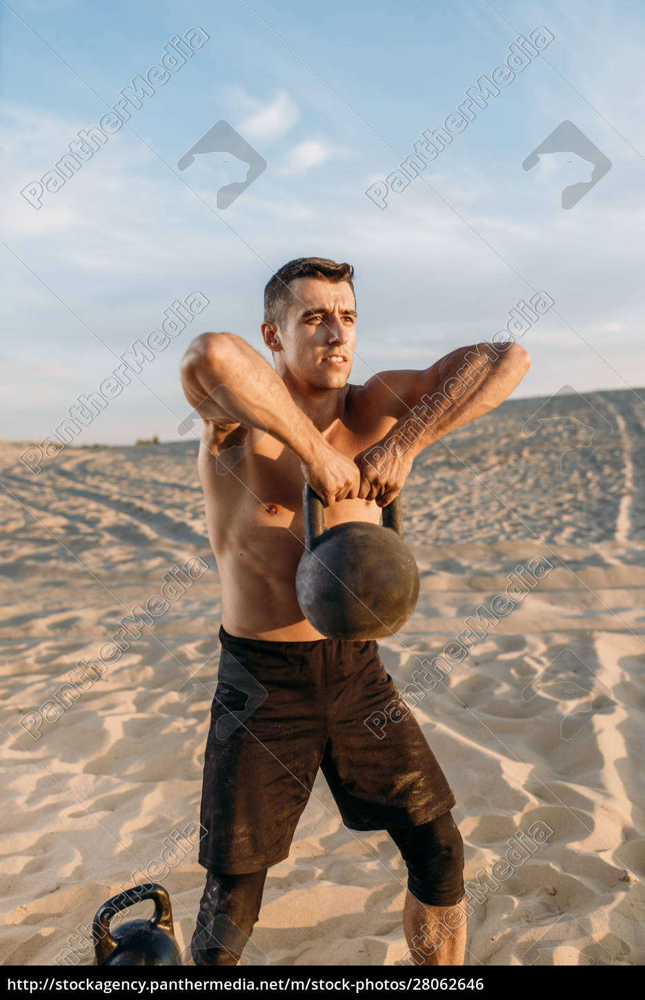 male, athlete, after, workout, in, desert - 28062646