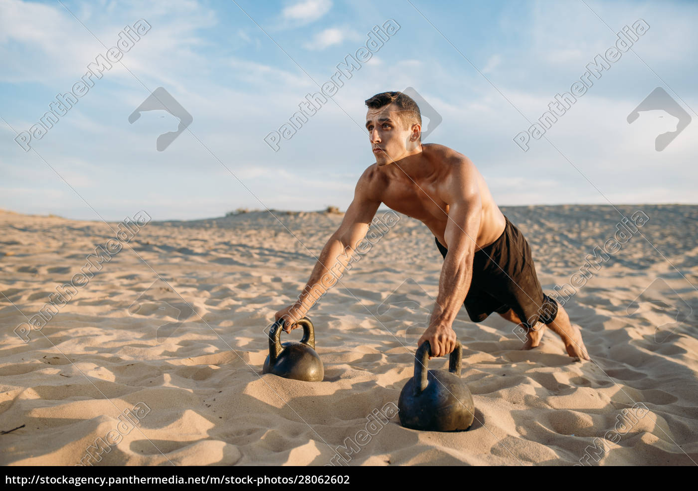 male, athlete, doing, push-up, exercises, in - 28062602