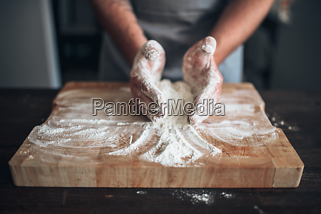 male, baker, hands, kneading, dough, on - 28062709