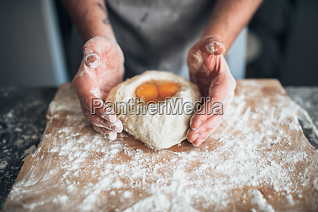 male, baker, hands, mix, the, dough - 28062813