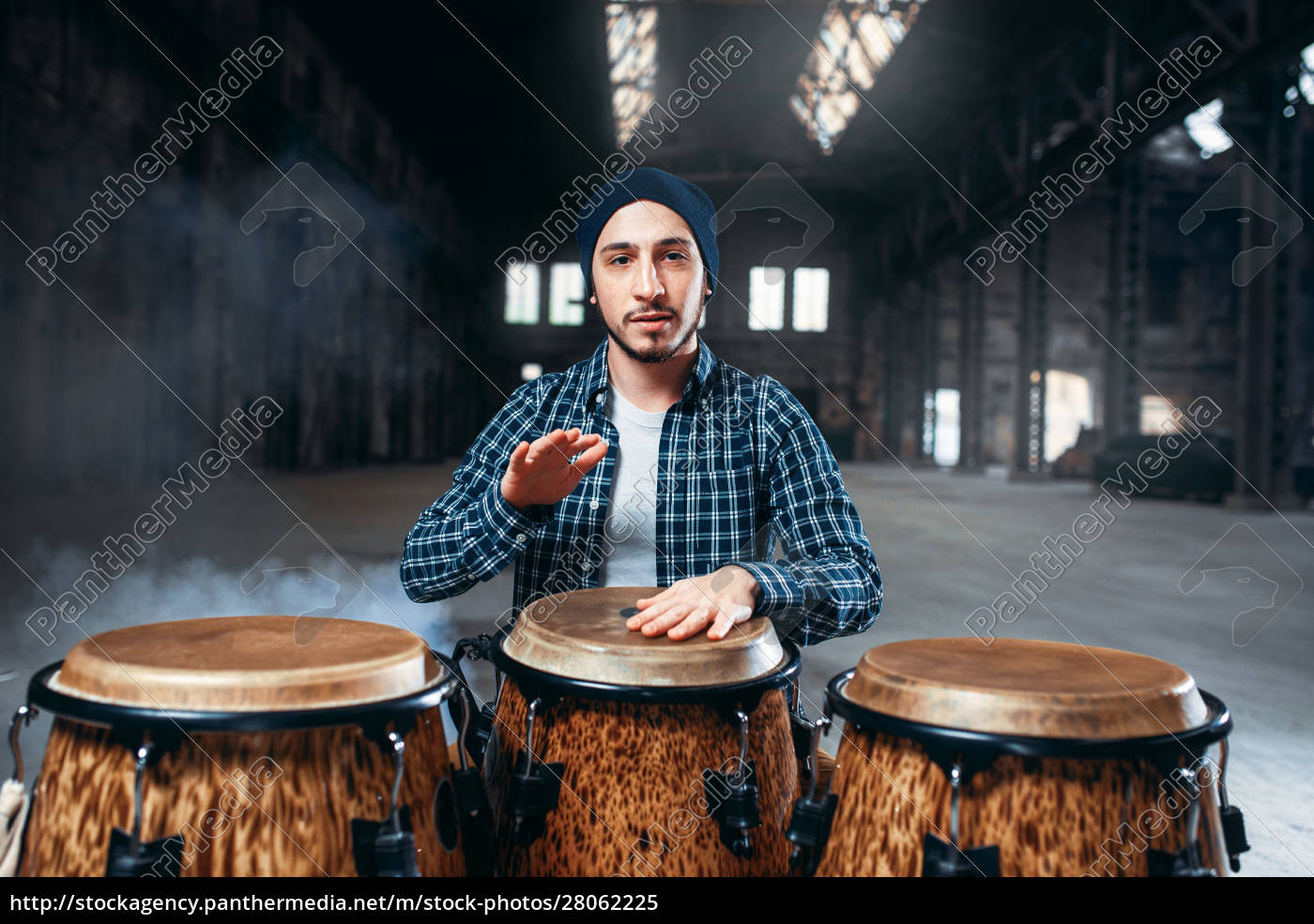 male, drummer, plays, on, wooden, drum - 28062225