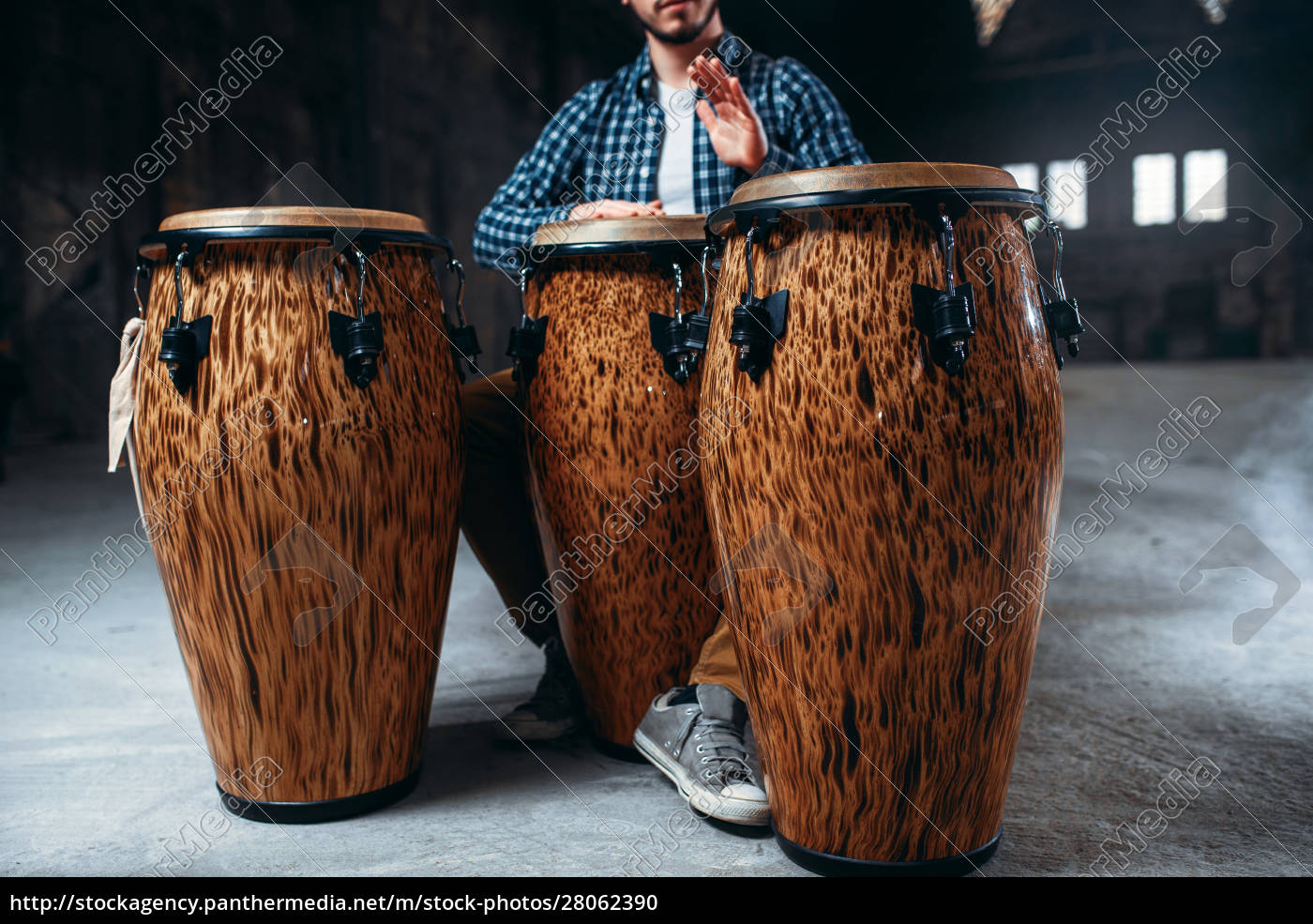 male, drummer, plays, on, wooden, drums - 28062390