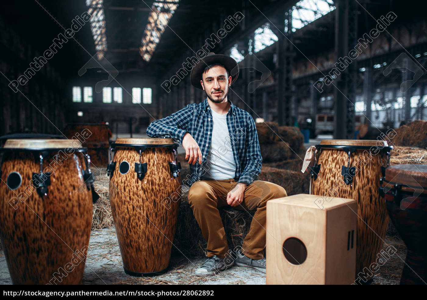 male, drummer, pose, against, african, wooden - 28062892