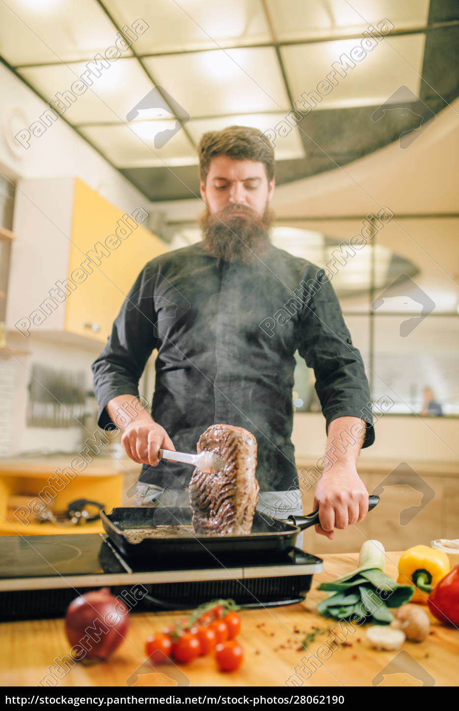 male, person, cooking, meat, in, a - 28062190