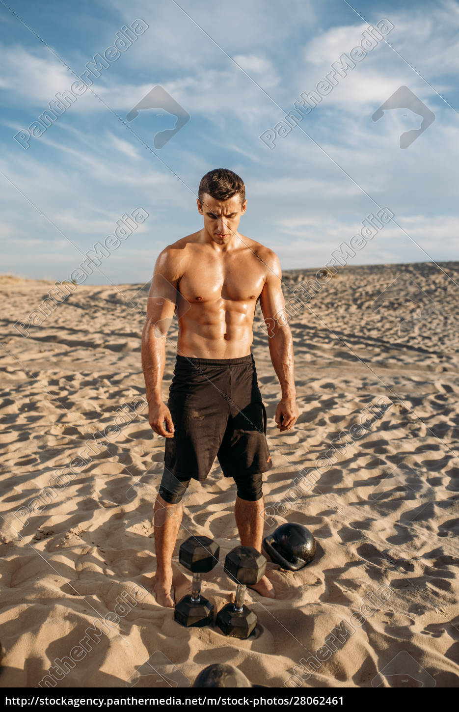 muscular, male, athlete, with, dumbbells, in - 28062461