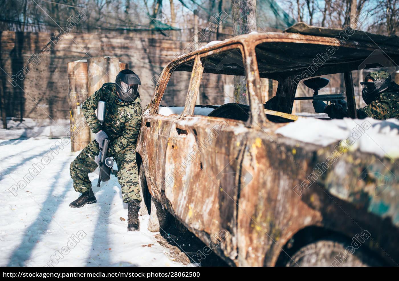 paintball, battle, , burned, car, in, winter - 28062500