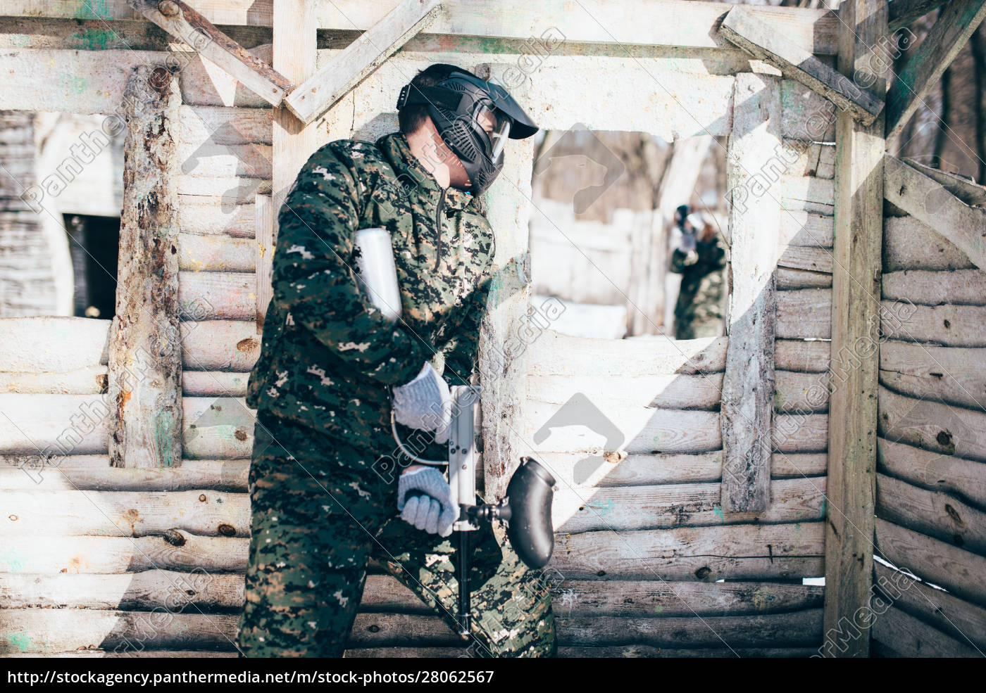paintball, battle, , skirmish, in, winter, forest - 28062567