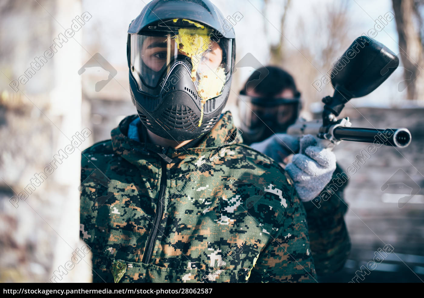 paintball, player, in, splattered, mask, , front - 28062587