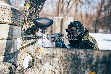 paintball, player, shooting, at, enemy, , paintballing - 28062497