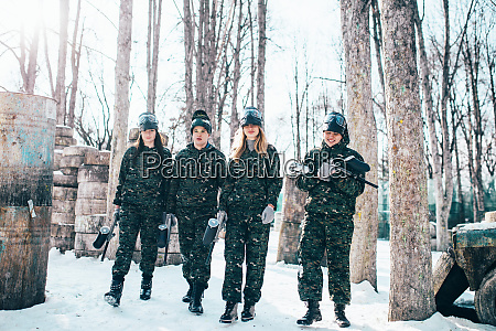 paintball, players, after, winter, forest, battle - 28062841