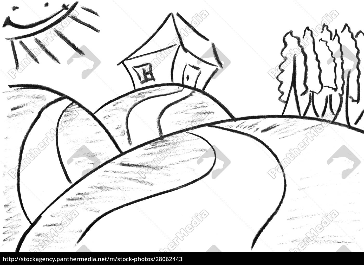 pencil, sketch, of, funny, house - 28062443