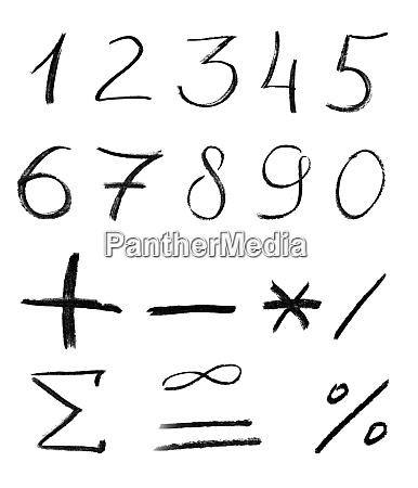 pencil, sketch, of, numbers - 28062759