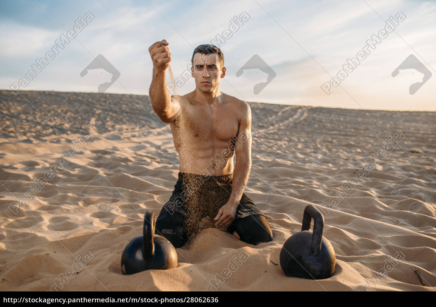 sportsman, after, workout, in, desert, at - 28062636