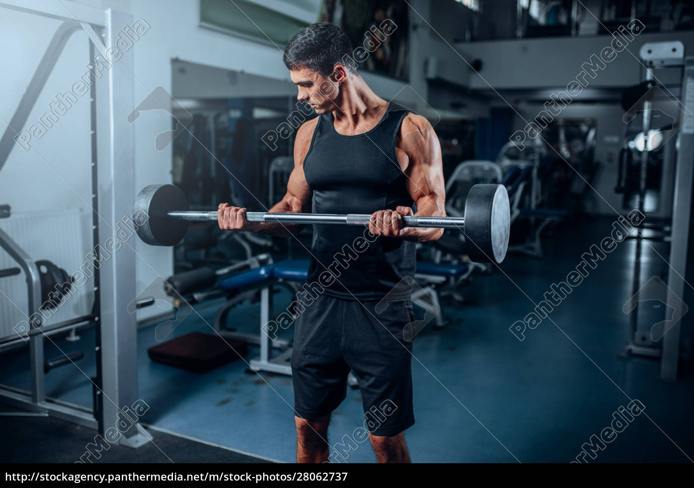 tanned, muscular, man, workout, with, barbell - 28062737