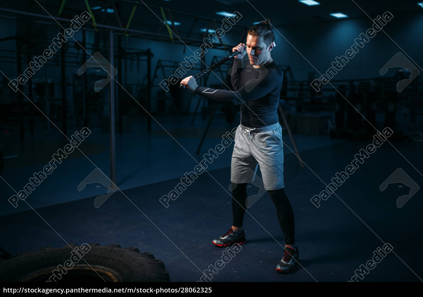 training, in, gym, , man, with, sledgehammer - 28062325