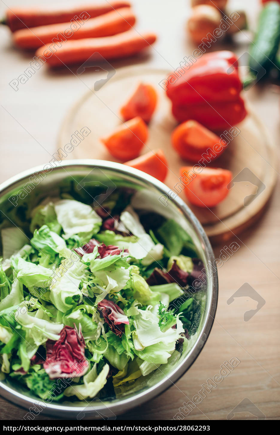 vegetables, and, salad, on, wooden, table, - 28062293