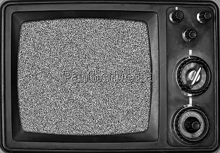 vintage, tv, with, noise, on, screen - 28062385