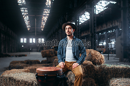 young, male, drummer, against, african, wooden - 28062754