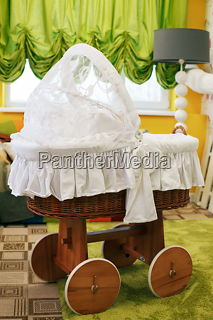 preschool room decorated with baby carriage