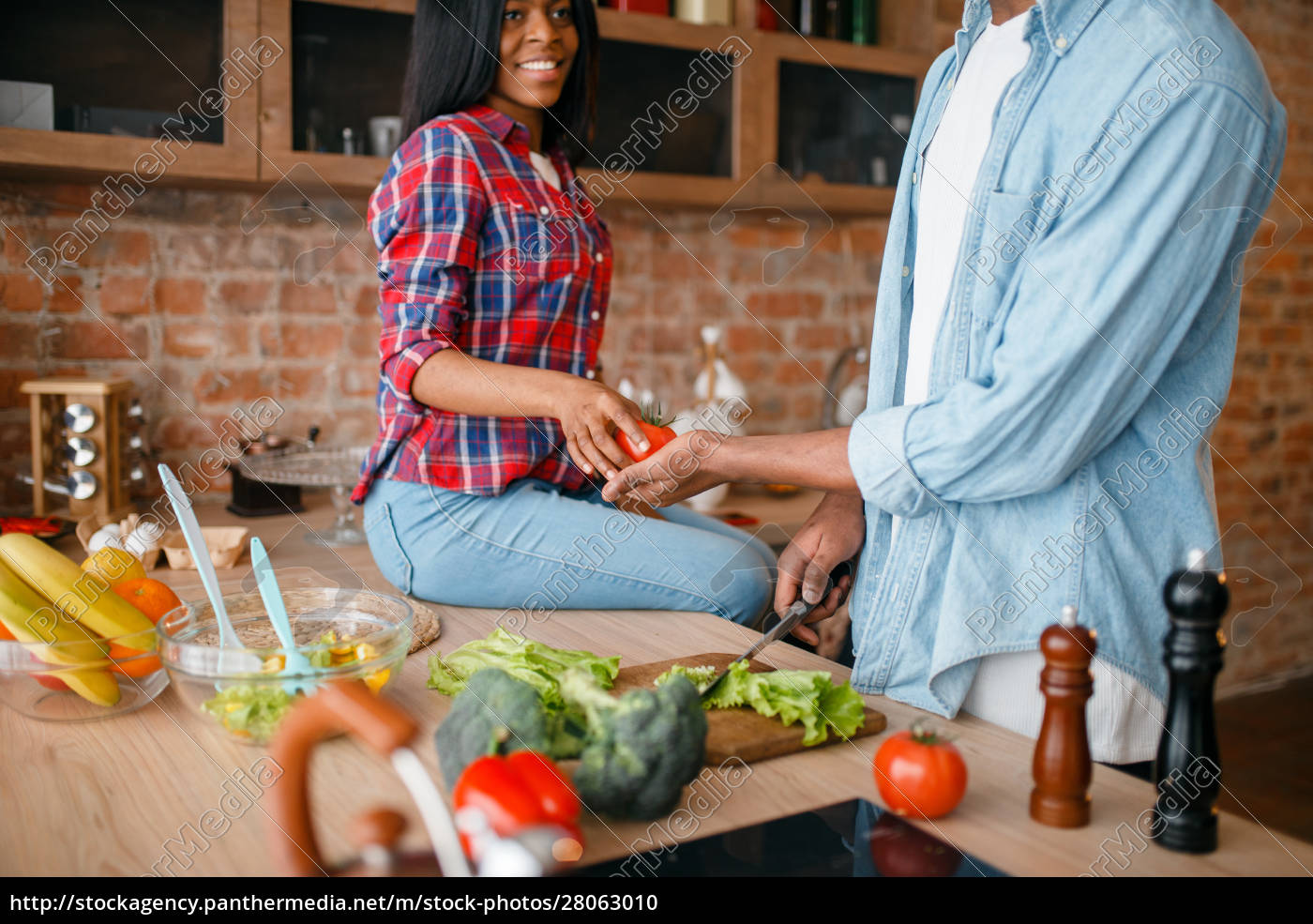 black, couple, cooking, together, on, the - 28063010