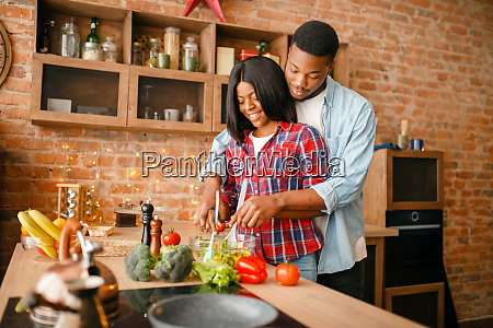 black, love, couple, cooking, together, on - 28063047