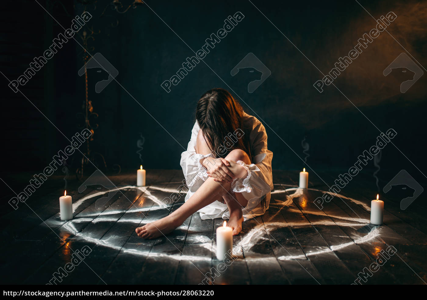 female, person, sitting, in, pentagram, circle, - 28063220