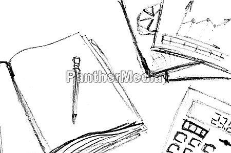 pencil, sketch, of, business, workspace - 28063311