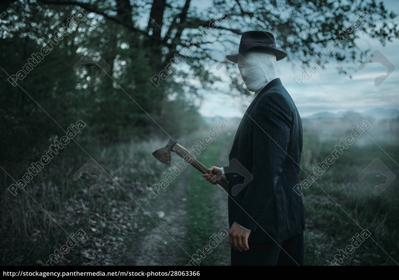 serial, maniac, with, axe, in, forest, - 28063366