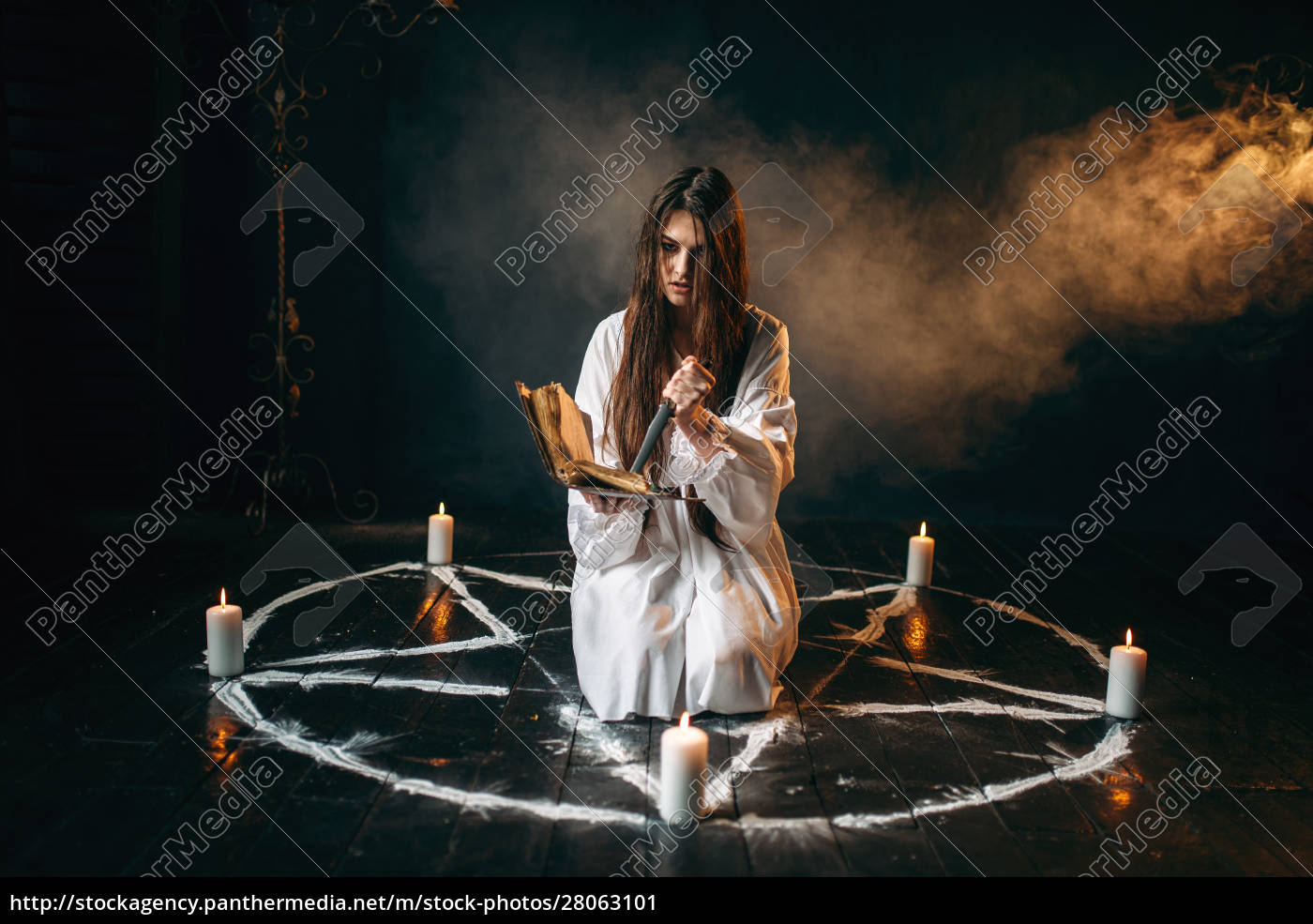 witch, in, white, shirt, holds, knife - 28063101